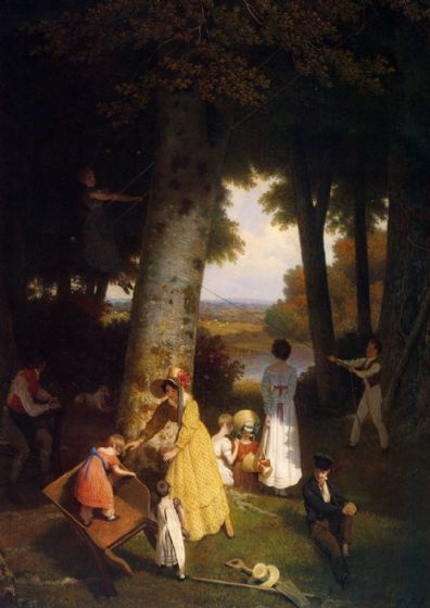 Agasse, Jacques Laurent: The Playground, 1830. Fine Art Print/Poster. Sizes: A4/A3/A2/A1 (00654)